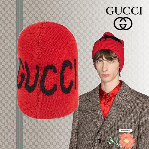 18AW GUCCI グッチスーパーコピー バット&GUCCIロゴ付き ウールハット ビーニー