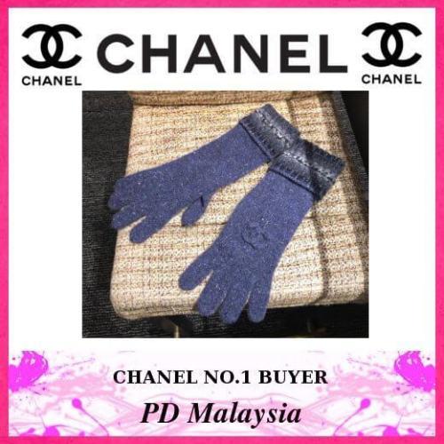 シャネル手袋スーパーコピー CHANEL カシミア×手袋×CoCoロゴ 最新作 ブルー