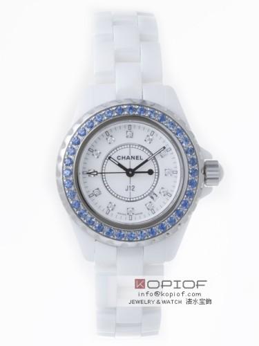 シャネルJ12 スーパーコピーH1628 33mm ホワイトセラミックブレス 12Pダイヤ ベゼルブルーサファイヤ(合成)アフター