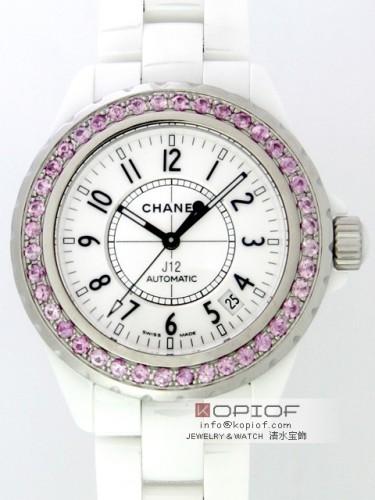 シャネルJ12 スーパーコピーシャネル CHANEL J12 H0970 38mm ホワイトセラミックブレス ベゼルピンクサファイヤ(合成)アフター ホワイト