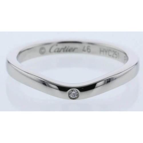 カルティエ リング コピー Cartier カーブデザイン プラチナ リング ダイアモンド 3P-Diamond Platinaumリング