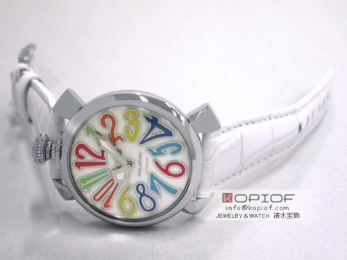 ガガミラノ マヌアーレ40MM スーパーコピークォーツ 5020.1 ホワイト皮 ホワイトシェル/マルチカラーアラビア