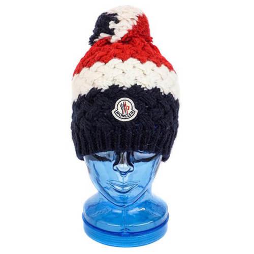 モンクレール 帽子 コピー MONCLER ニット帽 00221 00 04649 777 NAVY ネイビー×レッド ニットキャップ 帽子 メンズ レディース ボンボン付き ユニセックス