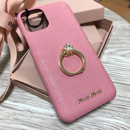 miumiu iphoneケース コピー マドラスレザー iPhone11 Proケース ちょこんと乗せられたクリスタルバンカーリングがカワイイ
