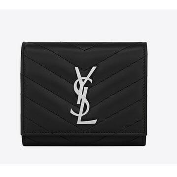 サンローラン 偽物 シルバー財布 モノグラム黒X 三つ折のコンパクト財布