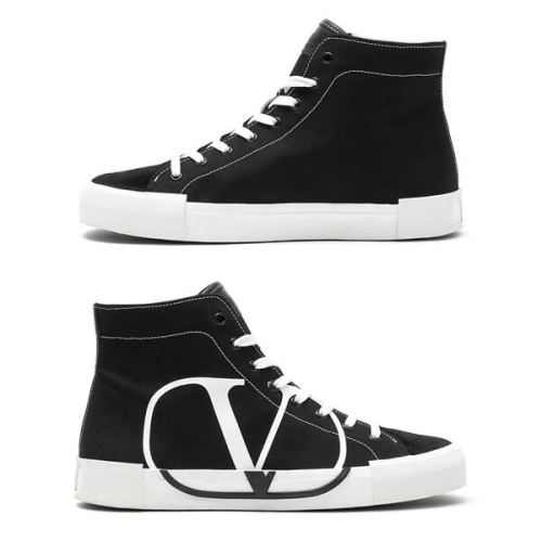 VALENTINO 19AW V logo ヴァレンティノ ハイカット スニーカー 偽物_BLACK