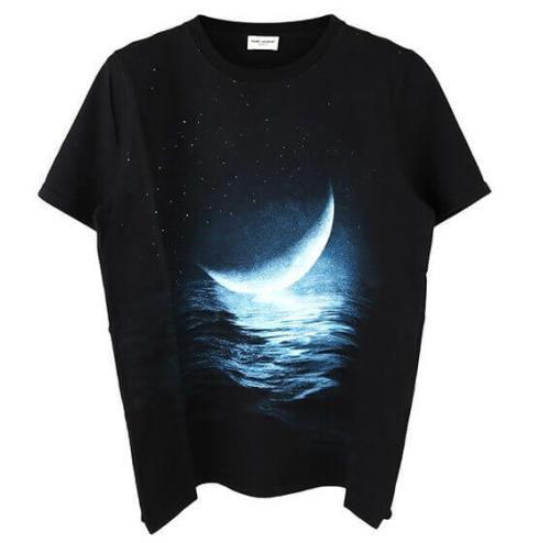サンローラン Tシャツ コピー ムーンライトプリント ショートスリーブ Tシャツ466906