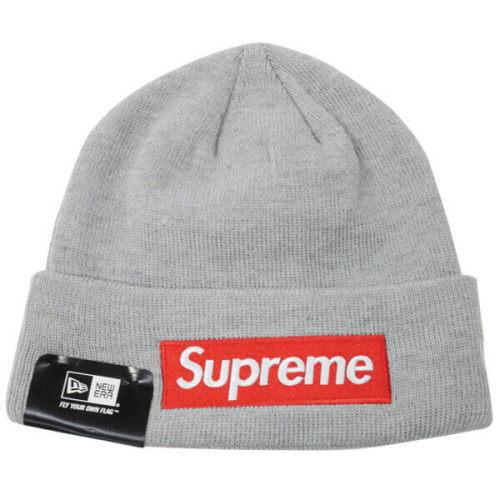 supreme ニット 帽 偽物 New Era Box Logo ロゴビーニー グレー (ステッカー付き)