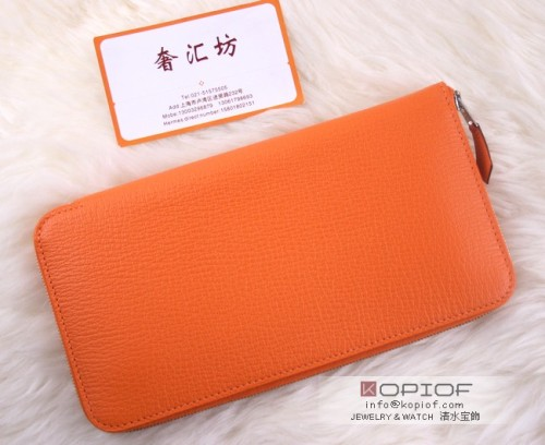 エルメス財布コピーアザップ クラシック シェーブル オレンジ シルバー金具 he029