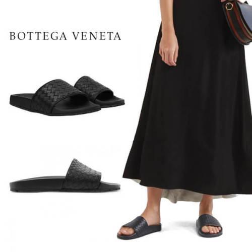Bottega Veneta ボッテガヴェネタ フラットサンダル 偽物 ブラック610538VBSF09126