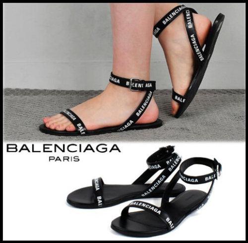 バレンシアガ サンダル コピー BALENCIAGA ロゴ ラウンド フラット551154WBAE1 9010