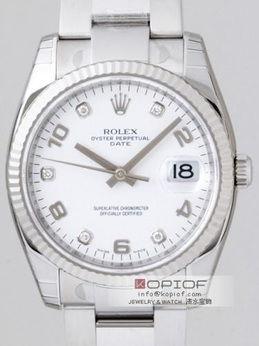 ロレックス パーペチュアル デイト スーパーコピーデイト 115234G 5Pダイヤ ホワイト飛びアラビア
