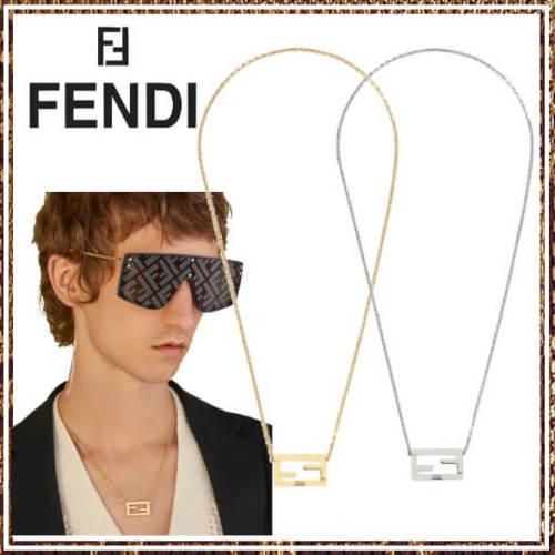 フェンディ ネックレス コピー FENDI 幾何学的FFモチーフ チェーンネックレス