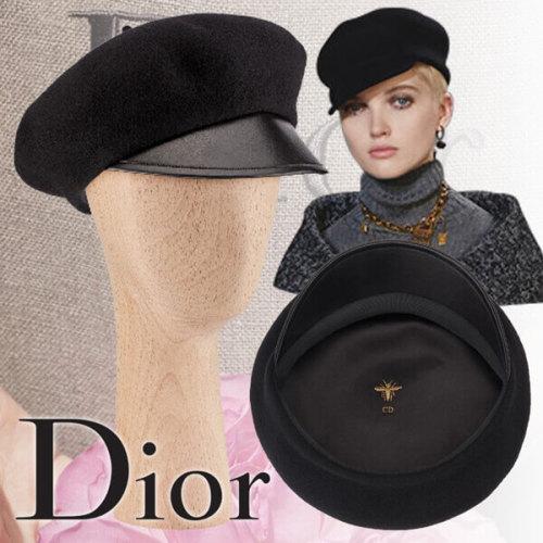 2019新作人気 Dior ディオール キャップスーパーコピー ブラックベレーキャップ ブラックウール DIOR文字入り