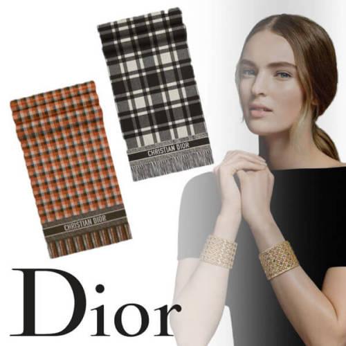 即日対応☆Dior CHECK'N'DIOR スカーフ コピー ウール チェック ストール 2色 ロゴ 05CHE200I150