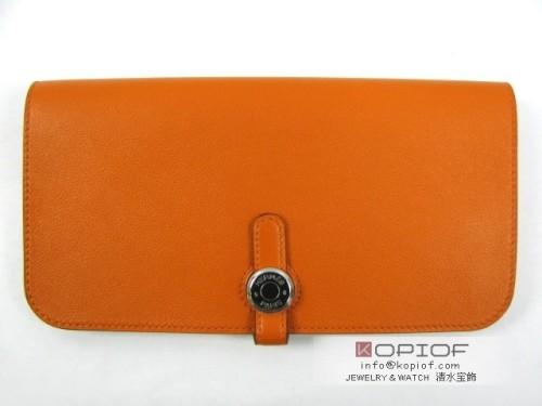 エルメス ドゴン スーパーコピーロング オレンジ(金具:シルバー)/ヴォースイフト hr210