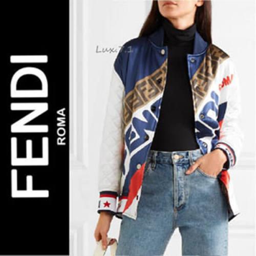 男女OK【FENDI】ボンバージャケット コピー リバーシブル シルク サテン