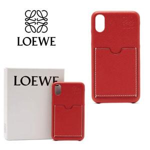 LOEWE ロエベ ケース コピー iPhoneX レザーケース レッド シンプル ロゴ入り