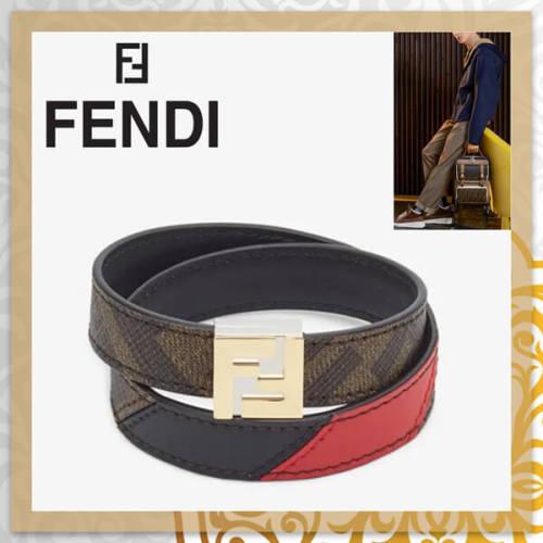 フェンディ ブレスレット コピー FENDI FFロングダブルツイストレザーブレスレット