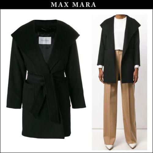 MAX MARA2017/18秋冬新作キャメルフーデッドコート黒 マックスマーラ コピー