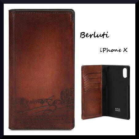 ベルルッティ スマホケース コピーBerluti iPhone X スマホケース 手帳型 カードポケット 4つ付き