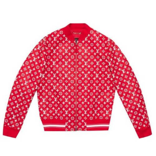 シュプリーム ルイ ヴィトン ジャケット 偽物 Supreme Vuitton Leather Blousonレザー コラボ ジャケット ボックスロゴ スウェット モノグラム 赤1A3FBI