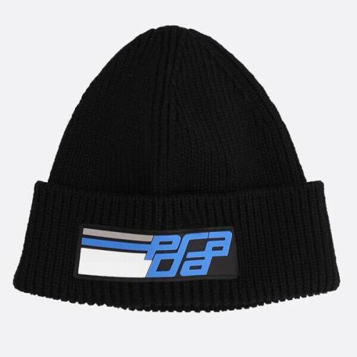プラダ キャップスーパーコピーPRADA 帽子 ブラック ニット ロゴ ビーニー
