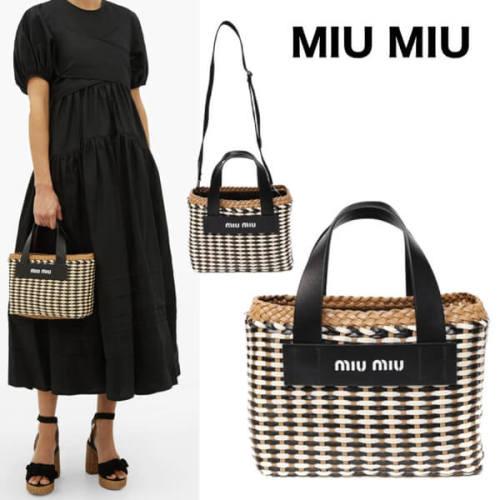 Miu Miu Woven 2Way ミュウミュウ ロゴ トート ハンドバッグ コピー