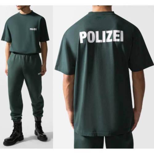ヴェトモン tシャツ 偽物 VETEMENTS POLIZEI Tシャツ グリーン ポリス