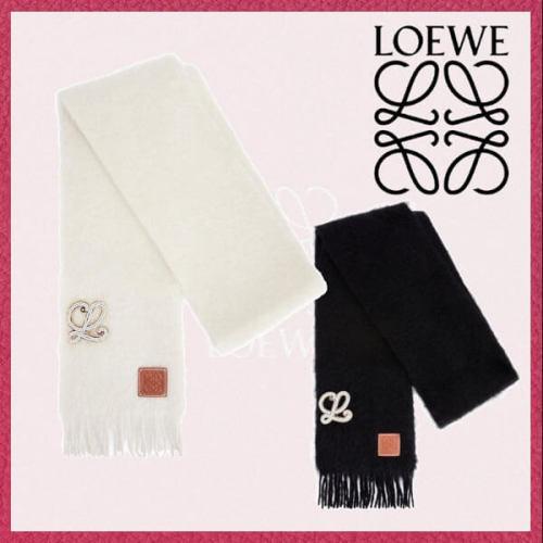 ロエベ ブローチ スカーフ モヘア&ウール マフラー コピー ロゴ F813487X11