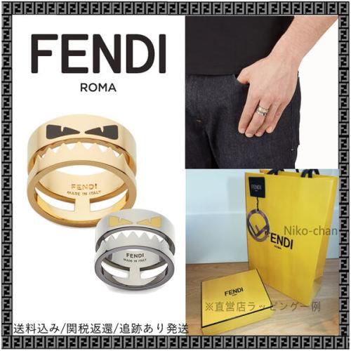 fendi モンスター 偽物 フェンディ 指輪 リング ロゴ刻印 バッグ バグズ BAG BUGS ダブルバンド