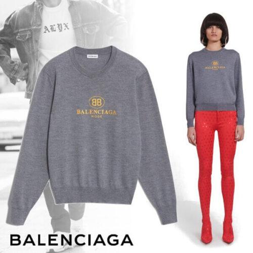 バレンシアガ エンブロイダリー セーター「BB Mode」の刺繍 リブ編み仕上げ