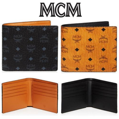 MCM クラウス ロゴ付き 二つ折り財布 コグナック MCM 財布コピー