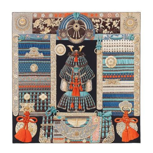 エルメス スカーフコピー カレ90 H003071S 05 侍の鎧兜 Parures de Samourais サムライ ★パリから シルク