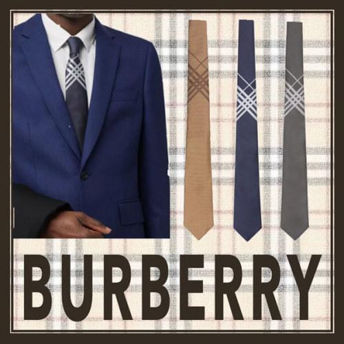 バーバリー チェックシルクジャカードネクタイ 3色