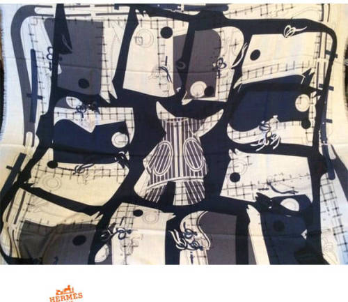 エルメス スカーフ コピー パリソルド カシミアシルク140 Imprimeur Fou ブルー