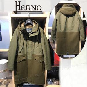 日本未入荷【HERNO】偽物ウール&ナイロンパネルロングコート