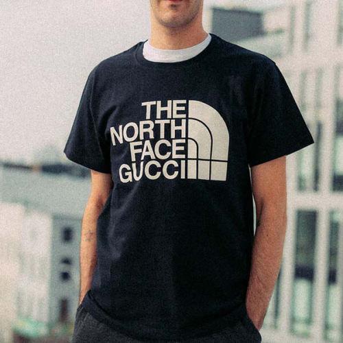 ザノースフェイス x GUCCI コラボロゴ Tシャツ 偽物