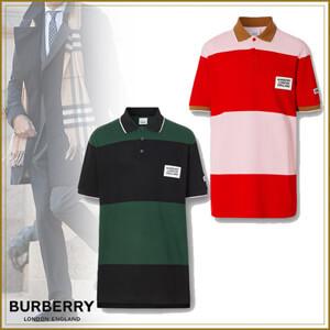 BURBERRY バーバリー ポロシャツ コピー ロゴアップリケ ストライプ コットン