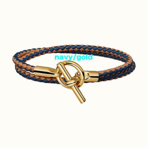 HERMES ブレスレット コピー カーフスキン Glenan Double Tour bracelet/ゴールド金具