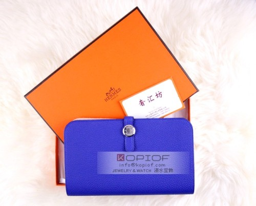 エルメス財布コピードゴンGM ブルーエレクトリック トゴ シルバー金具