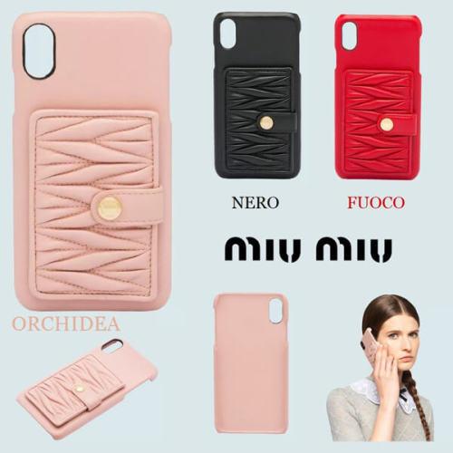 miumiu iphoneケース コピー MiuMiu マテラッセ カード入れ付IPHONE XS MAXケース 5ZH083