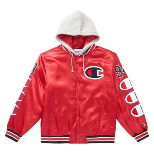 supreme champion 偽物 シュプリーム ボックス ロゴ パーカー Hooded Satin Varsity Jacket Red