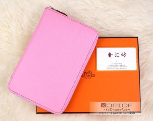 エルメス財布コピーアザップ コンパクト シェーブルミゾール ピンク シルバー金具 he041