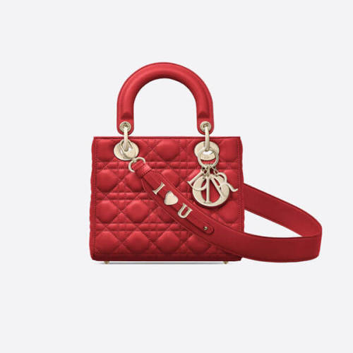 BAILA掲載 Dior ディオール カナージュ コピー チェリーレッド LADY DIOR バッグ M0505OWCB_M323