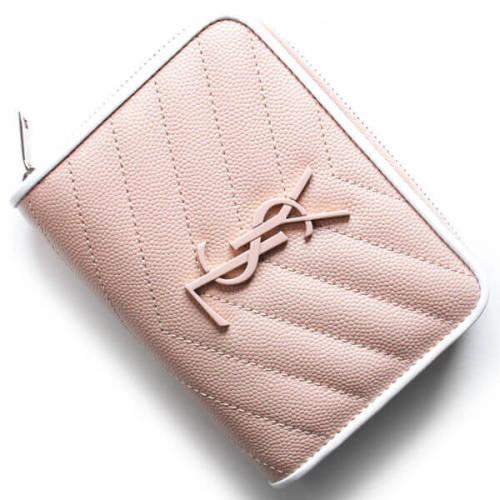 サンローラン モノグラム☆折りたたみ財布 403723 BOWF2 6983 コンパクトで可愛いピンク色の折りたたみ財布です
