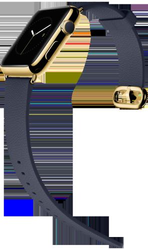 Apple Watch スーパーコピー42mm 18Kイエローゴールドケースとミッドナイトブルークラシックバックル