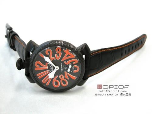 ガガミラノマヌアーレ スーパーコピー手巻き 5016.1 ブラック皮(オレンジステッチ) ブラックカーボン/オレンジアラビア