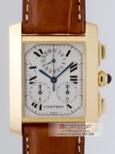 カルティエ タンクフランセーズ スーパーコピーW5000556 YG XL クロノ 皮 ホワイト
