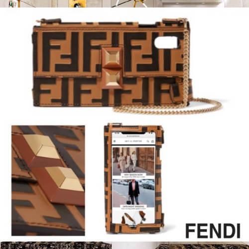 フェンディiPhoneXS ケース コピー FENDI フェンディ 18AW FF チェーン ガラス装飾 iPhone X iPhone Xsケース